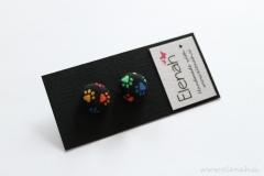 Uhani tačke pisani ročno delo Elenah blago earrings handmade paws colors fabric