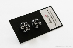 Unikatno darilo uhani rožice črno bela ročno delo Elenah blago earrings handmade flowers black white fabric
