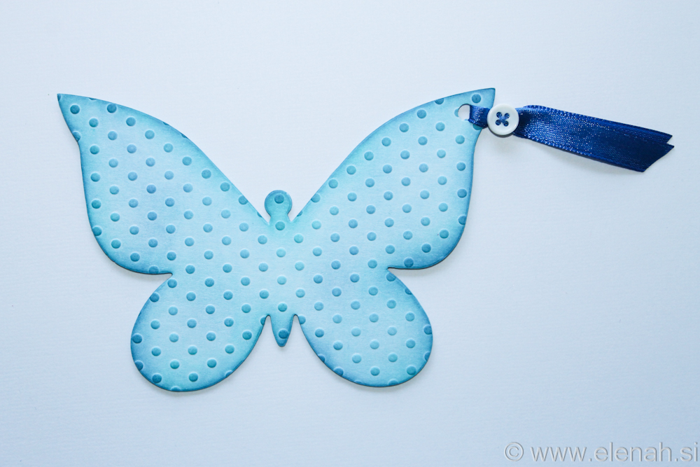 Butterfly bookmark dot embossed blue