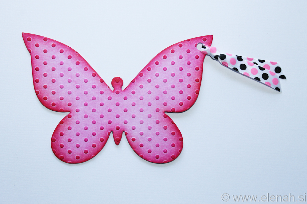 Butterfly bookmark dot embossed pink
