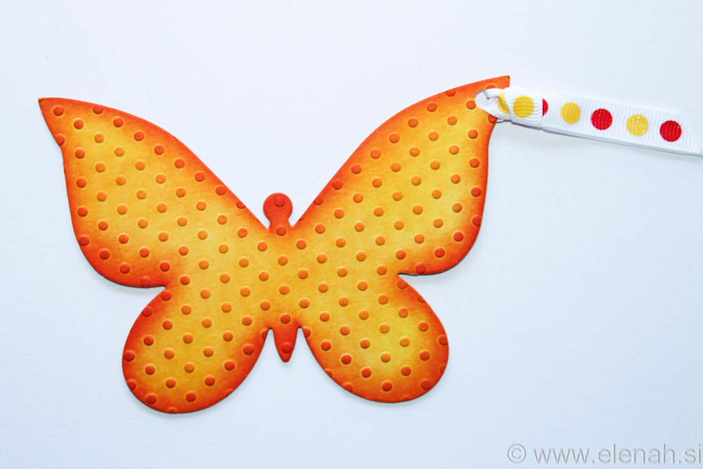Butterfly bookmark dot embossed yellow orange
