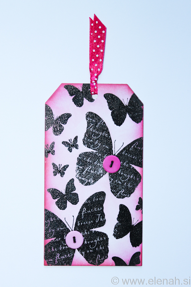 Day 109 pink butterfly button bookmark 1