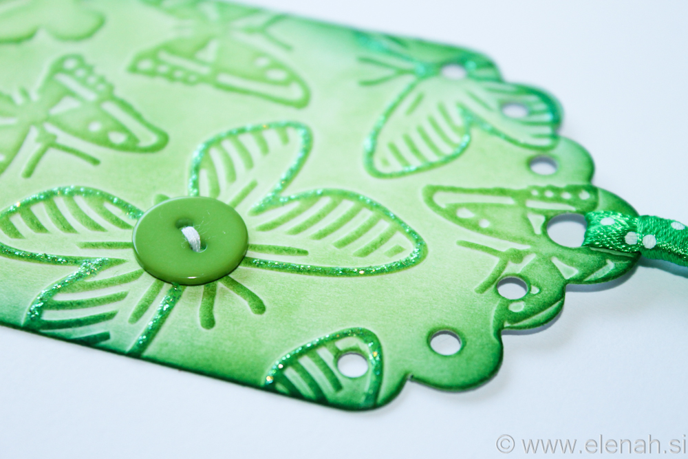Day 134 butterfly green button glitter bookmark 2