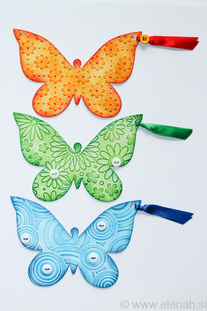 Day 138 butterfly embossed bookmark orange green blue 1