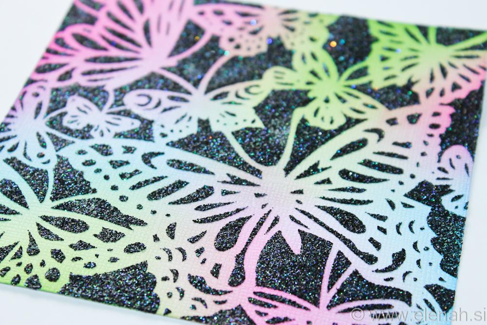 Day 17 butterfly stencil glitter 2