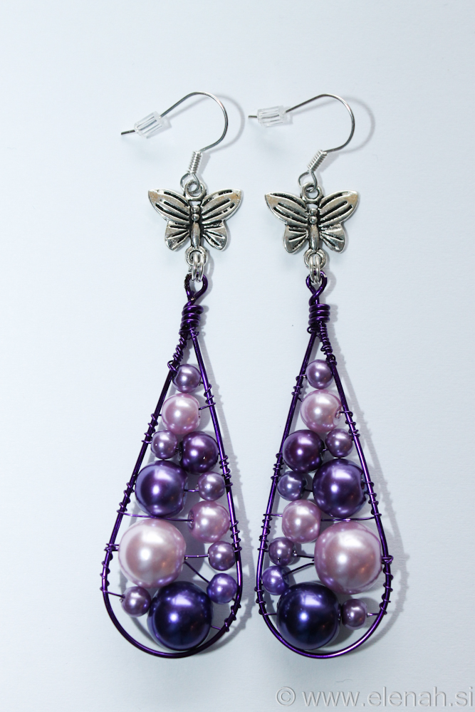 Day 332 purple butterfly wire earrings 1