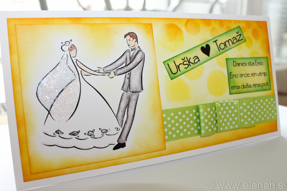 Day 74 wedding card yellow green 1a