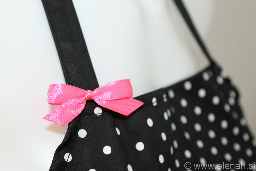 Day 86 apron polka dot white pink purple buttons 2
