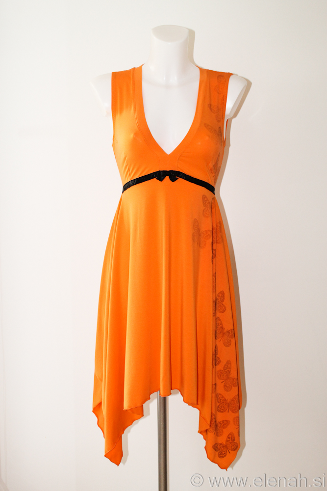 Day 87 orange black butterfly dress 1