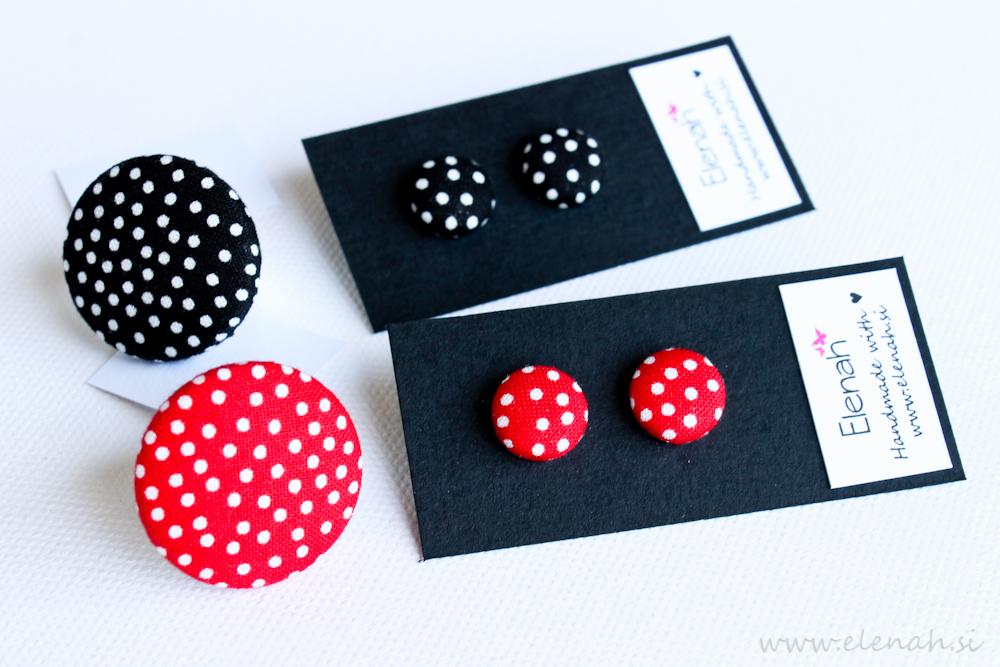 Elenah uhani iz blaga prstan črno belo rdeče pike blago