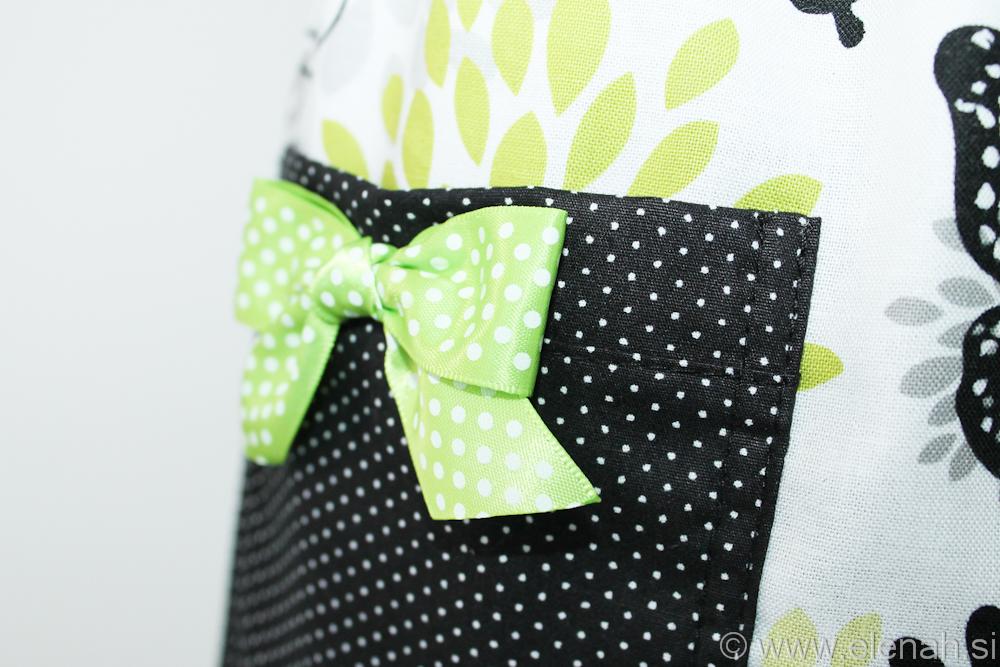Predpasnik metulji bela zelena črna Apron butterflies white green black cotton 4