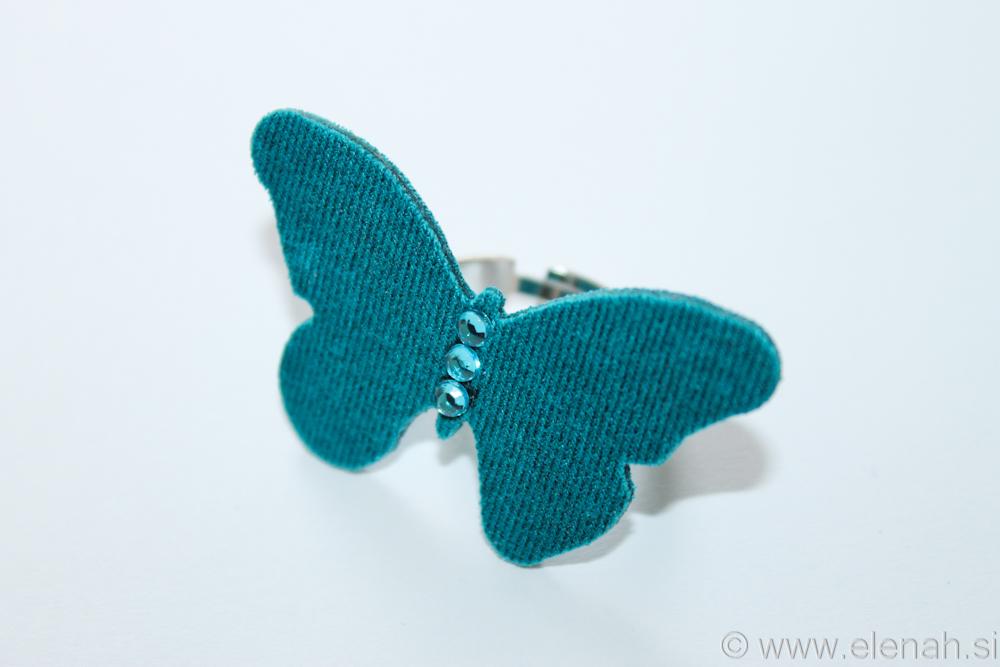 Prstan blago petrol Butterfly ring petrol fabric 1