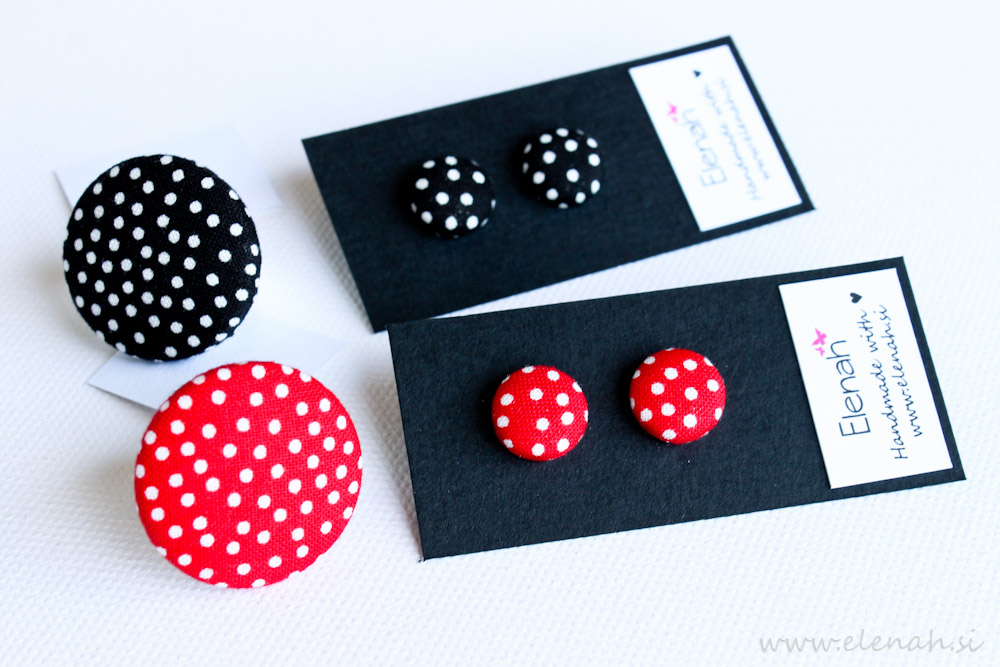Prstan pike rdeča črna ročno delo Elenah blago earrings handmade dots red black fabric