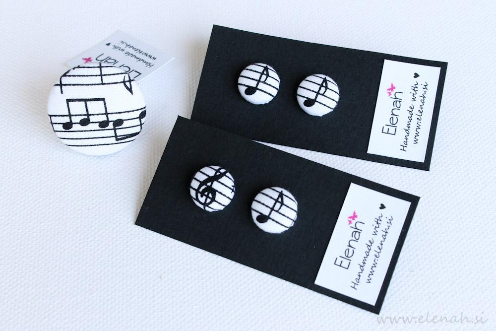 Uhani note glasba ročno delo Elenah blago earrings handmade note music