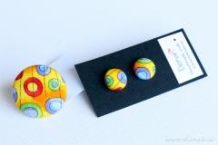 Prstan pike rumena barve ročno delo Elenah blago earrings handmade dots yellow dot fabric