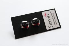 Uhani muce črno bela rdeča ročno delo Elenah blago earrings handmade cats black white red fabric