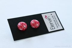 Uhani rožice rdeča ročno delo Elenah blago earrings handmade flowers red fabric