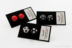 Uhani tačke rože pike črno bela rdeča ročno delo Elenah earrings paws flower dots handmade