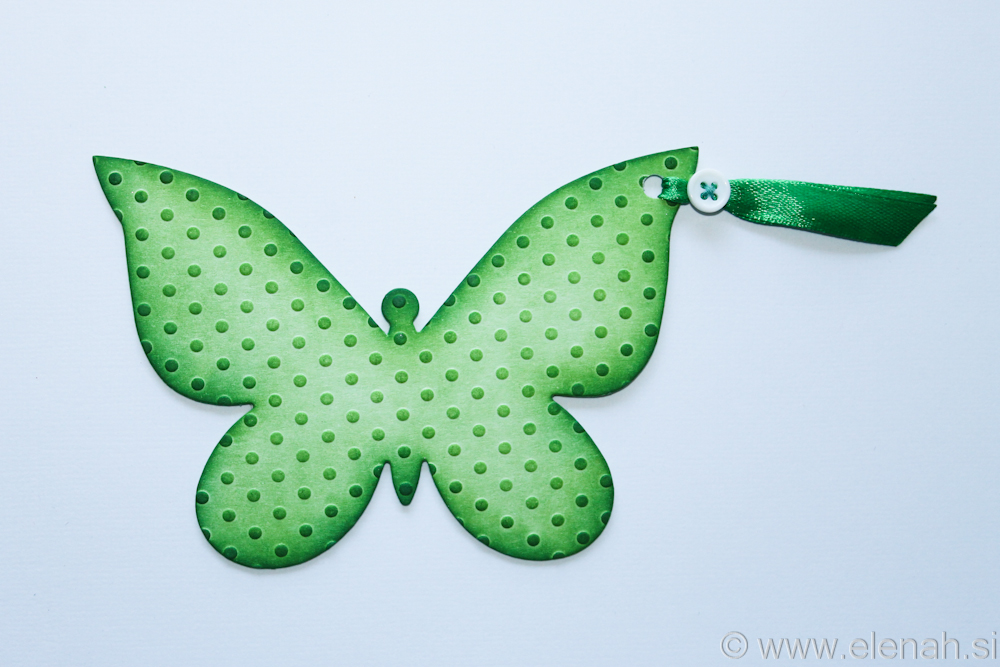 Butterfly bookmark dot embossed green