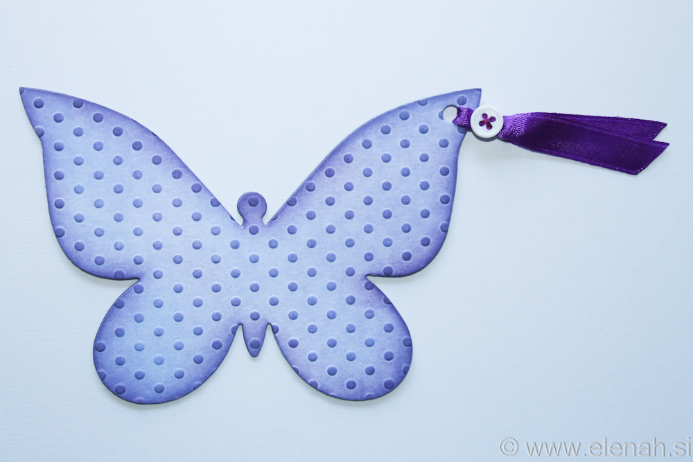 Butterfly bookmark dot embossed purple