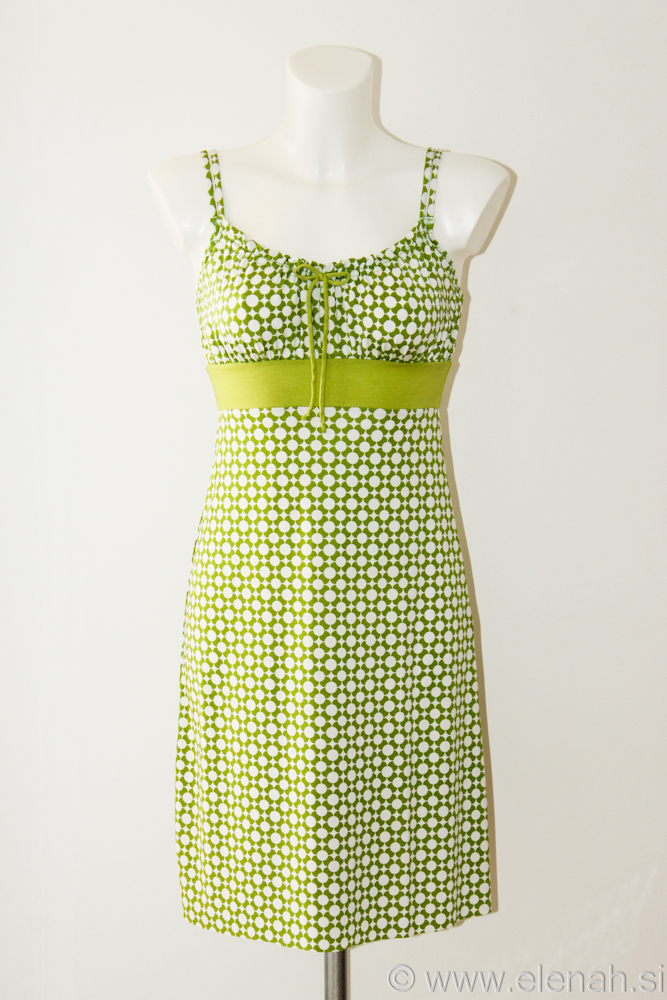 Day 100 pattern green white dress 1