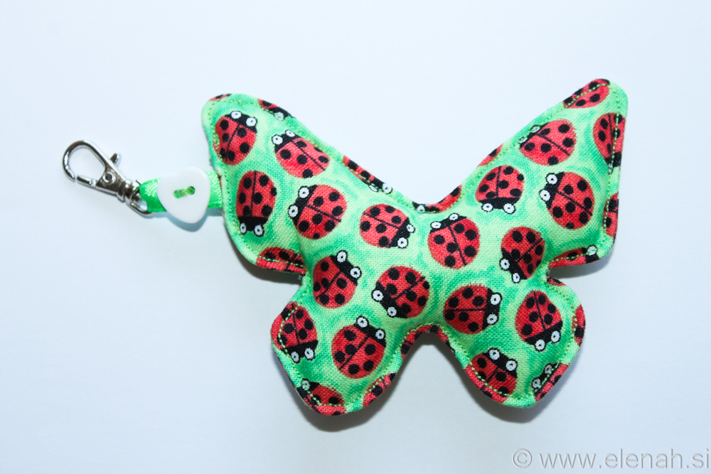 Day 115 butterfly fabric keychain with ladybugs 1