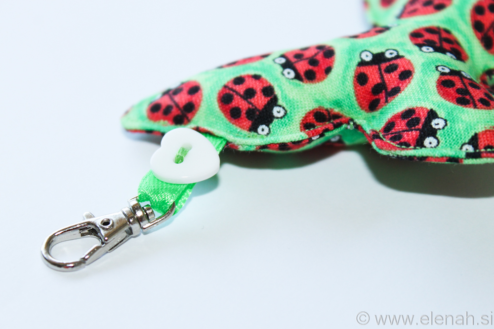 Day 115 butterfly fabric keychain with ladybugs 3