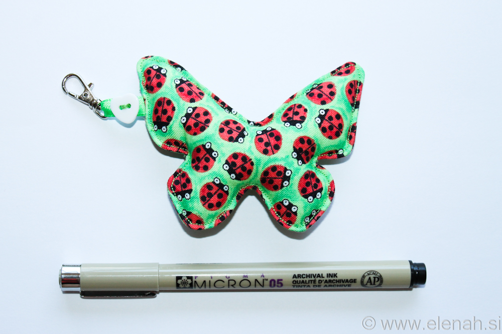 Day 115 butterfly fabric keychain with ladybugs 4