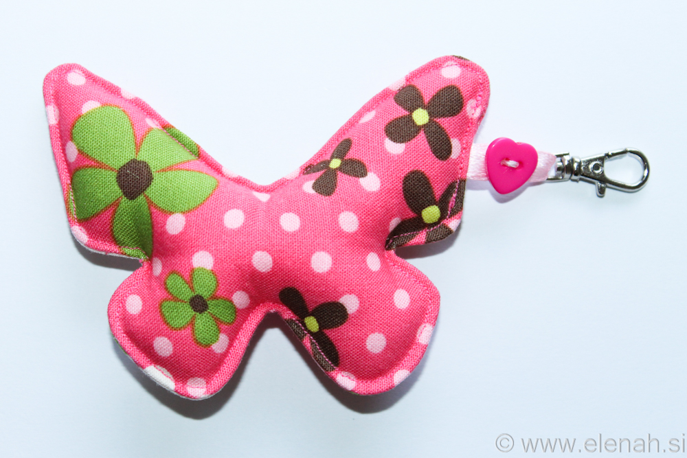 Day 119 fabric butterfly keychain with flowers 1