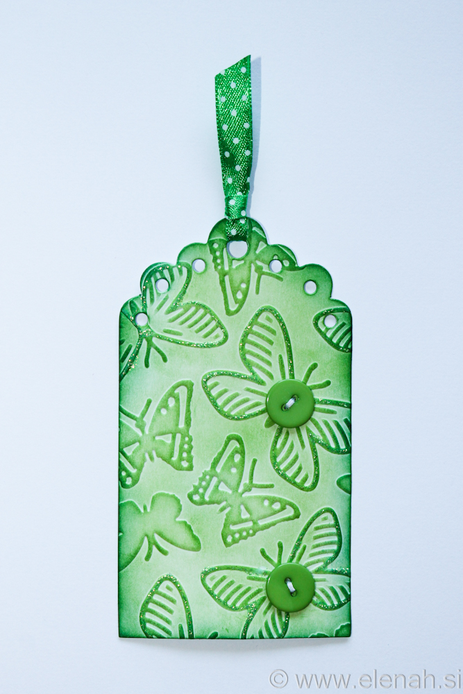 Day 134 butterfly green button glitter bookmark 1