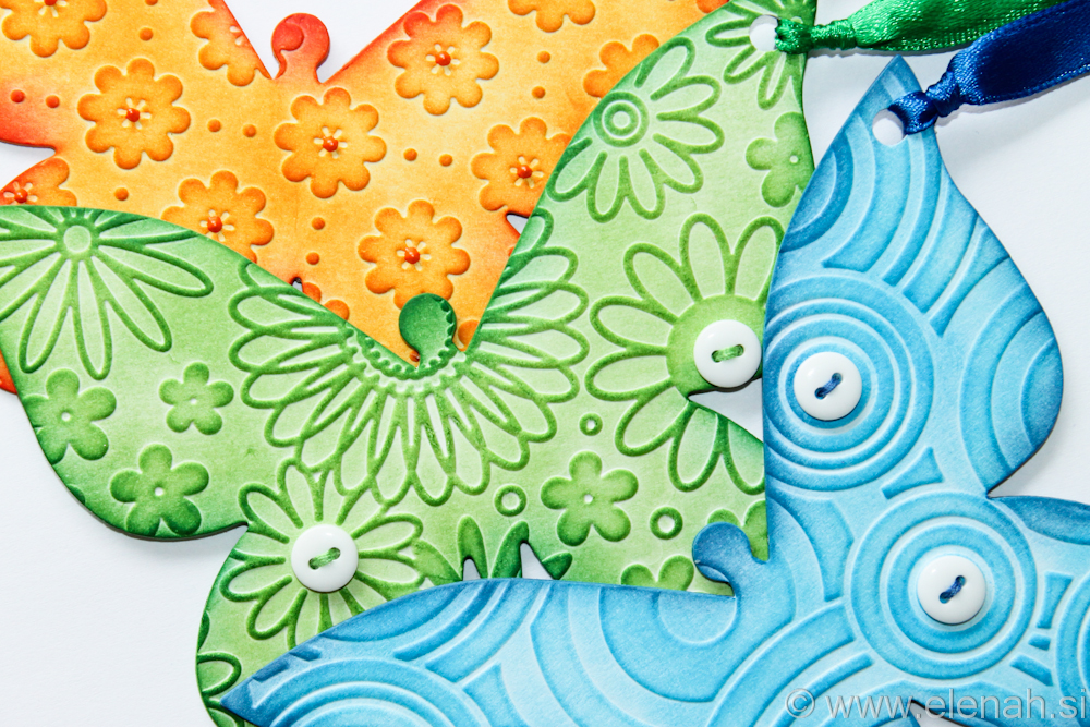 Day 138 butterfly embossed bookmark orange green blue 2