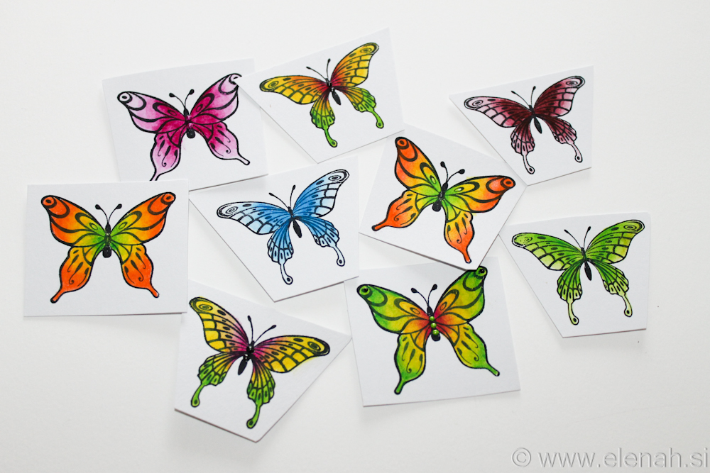 Day 305 butterfly stamp derwent pencilcs 1