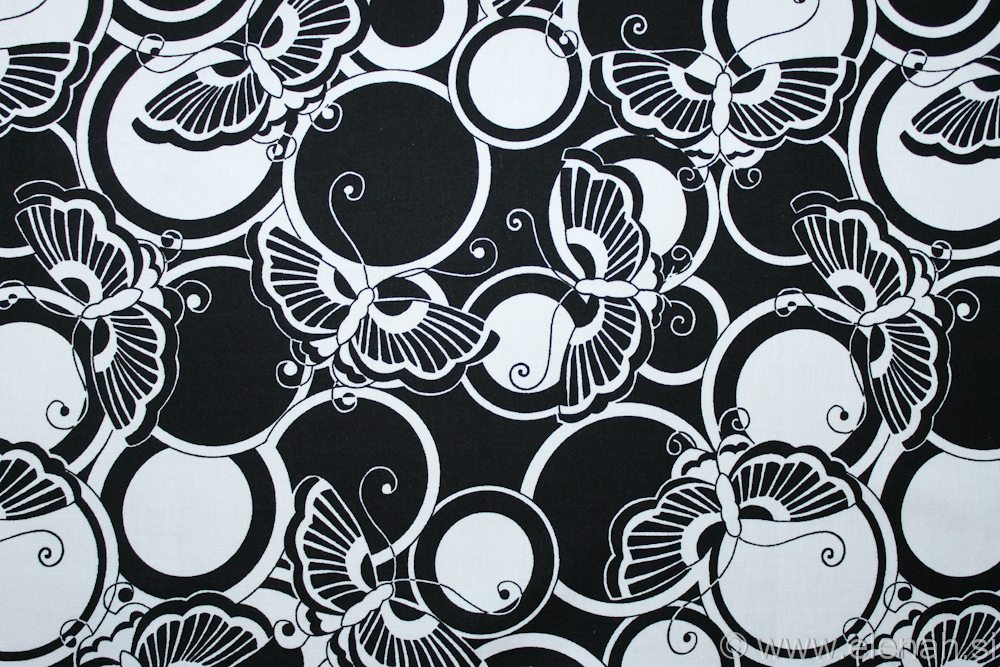 Day 308 Butterfly fabric black and white 1