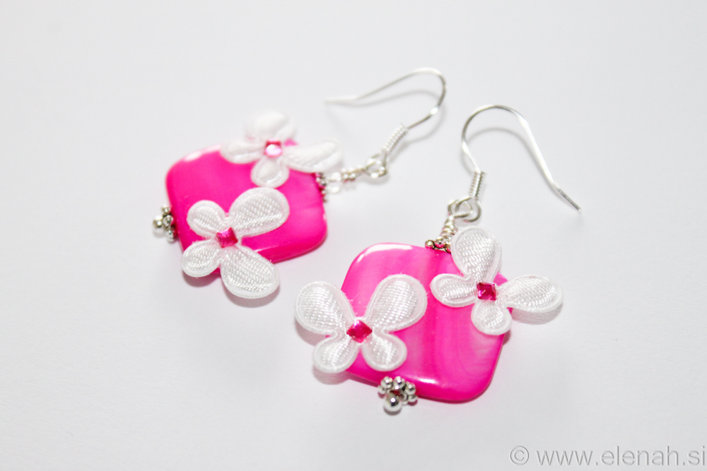 Day 315 pink shell white butterfly earrings 1
