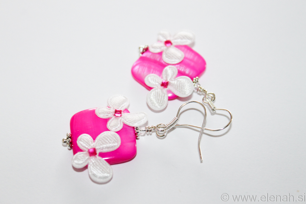 Day 315 pink shell white butterfly earrings  2