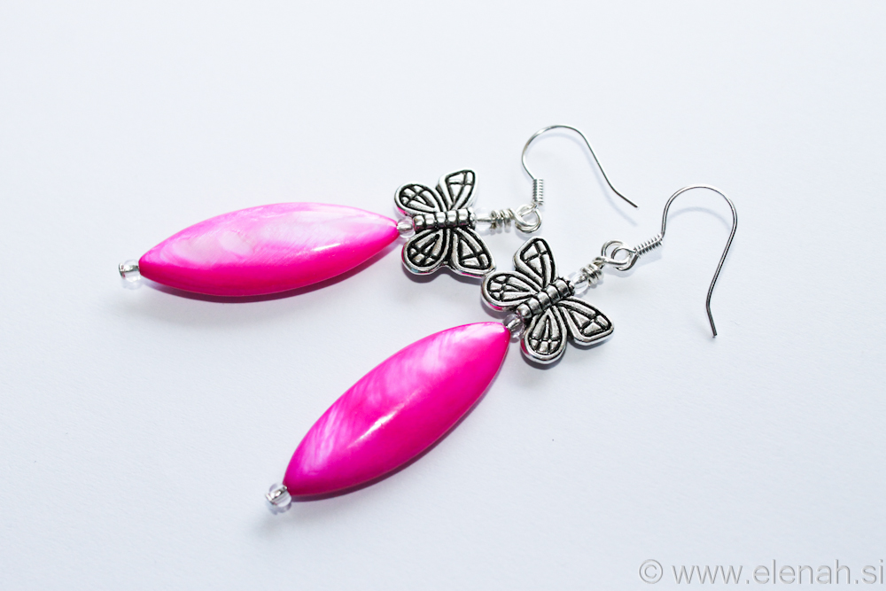 Day 330 butterfl pink shell earrings 1