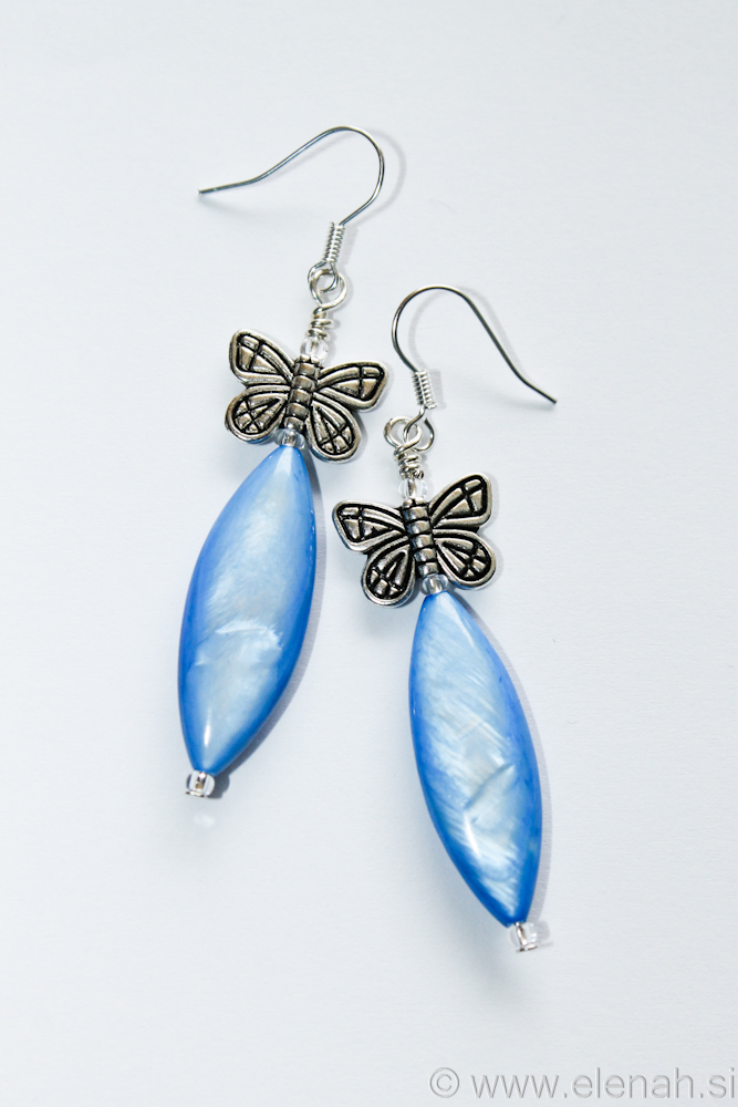 Day 331 blue butterfly shell earrings 1