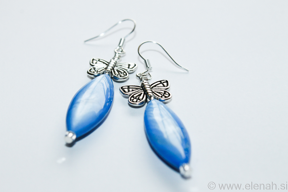 Day 331 blue butterfly shell earrings 3