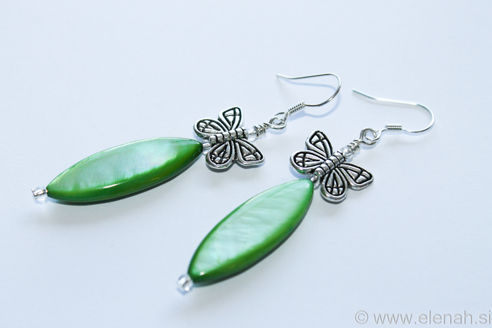 Day 334 butterfly green shell earrings 1