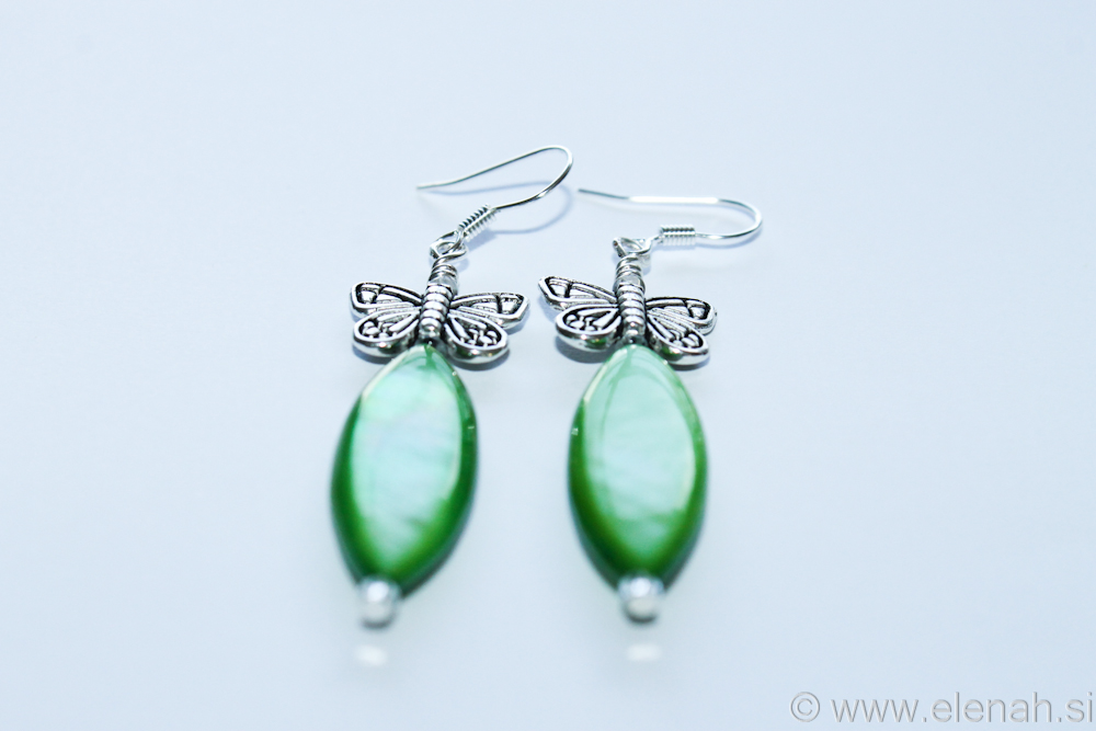Day 334 butterfly green shell earrings 2