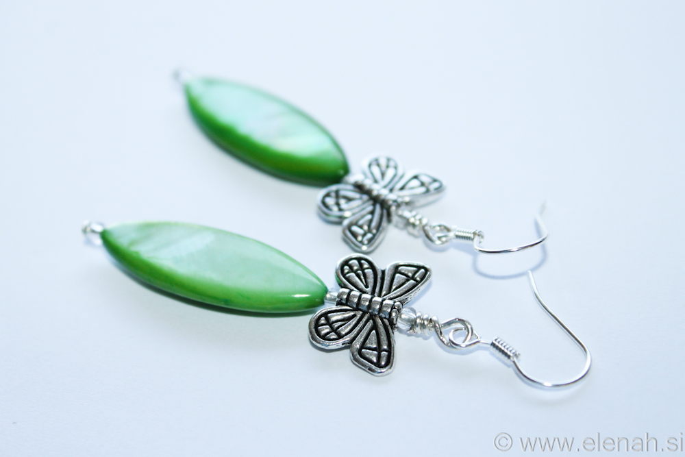 Day 334 butterfly green shell earrings 3