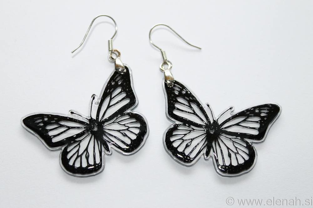 Day 348 butterfly black clear plastic earrings 1