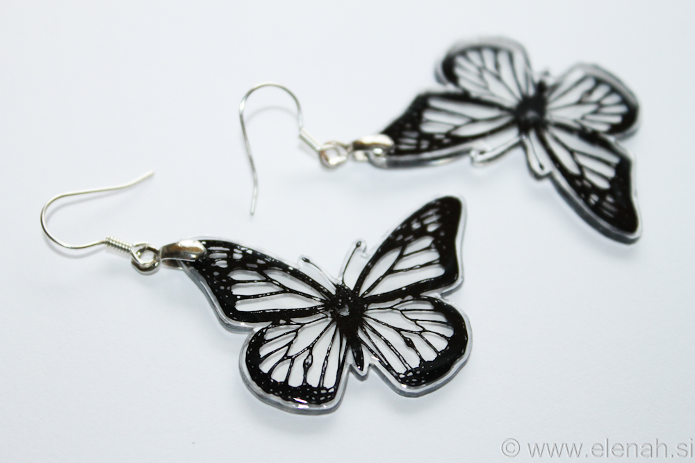 Day 348 butterfly black clear plastic earrings 2