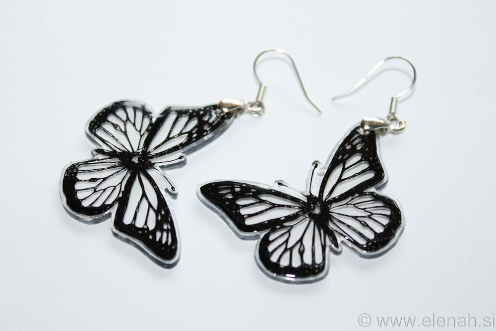 Day 348 butterfly black clear plastic earrings 3