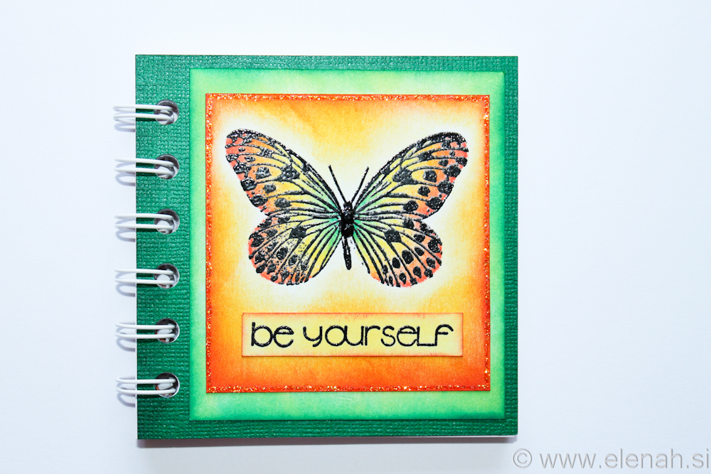 Day 85 butterfly orange green notepad 1
