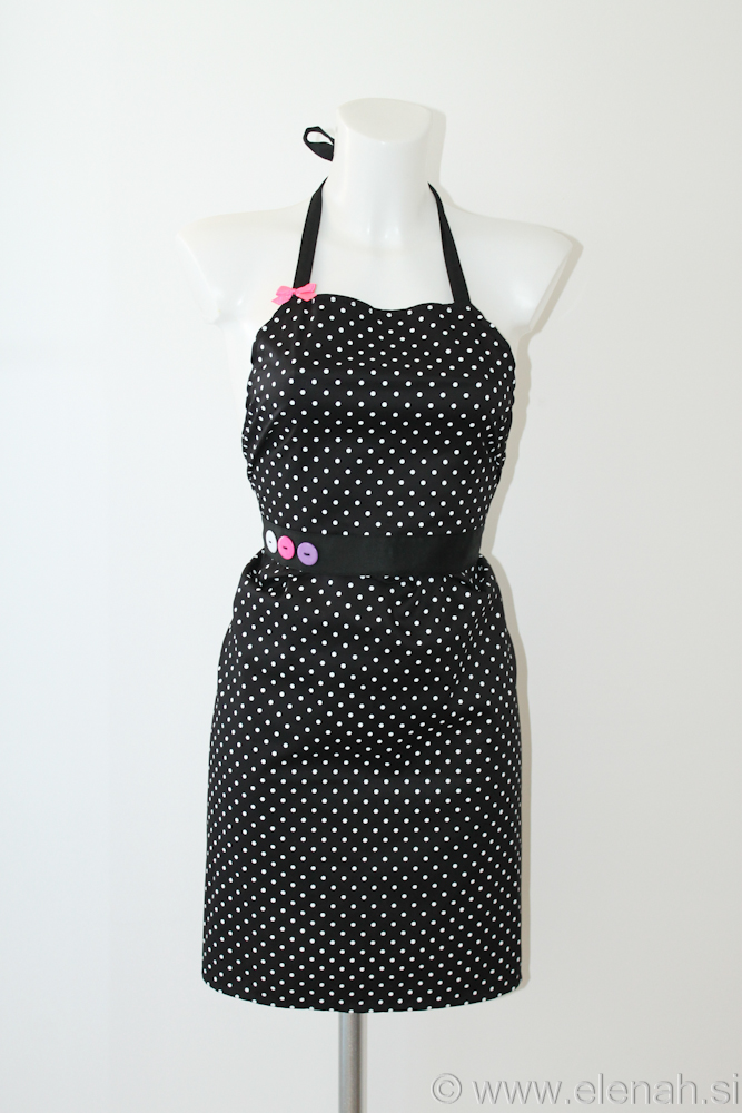 Day 86 apron polka dot white pink purple buttons 1