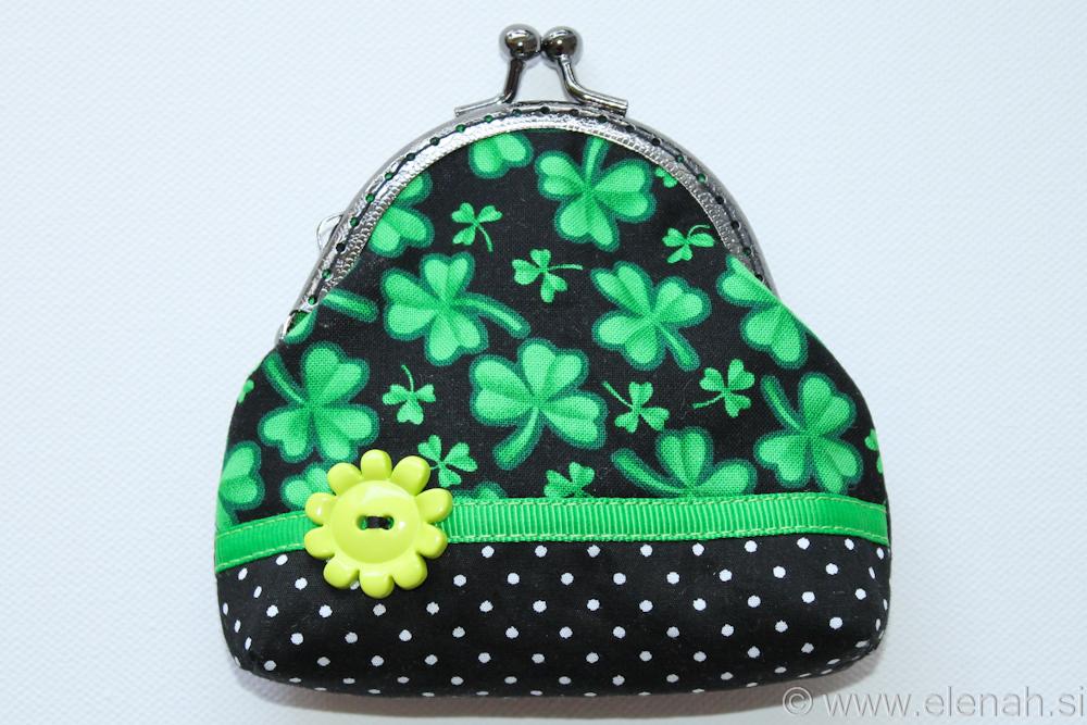 Drobižnica 3 črna zelena pike deteljice Frame coin purse black green clover 1