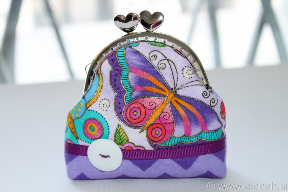Drobižnica 5 vijola metulji  Frame coin purse purple chevron butterfly 1
