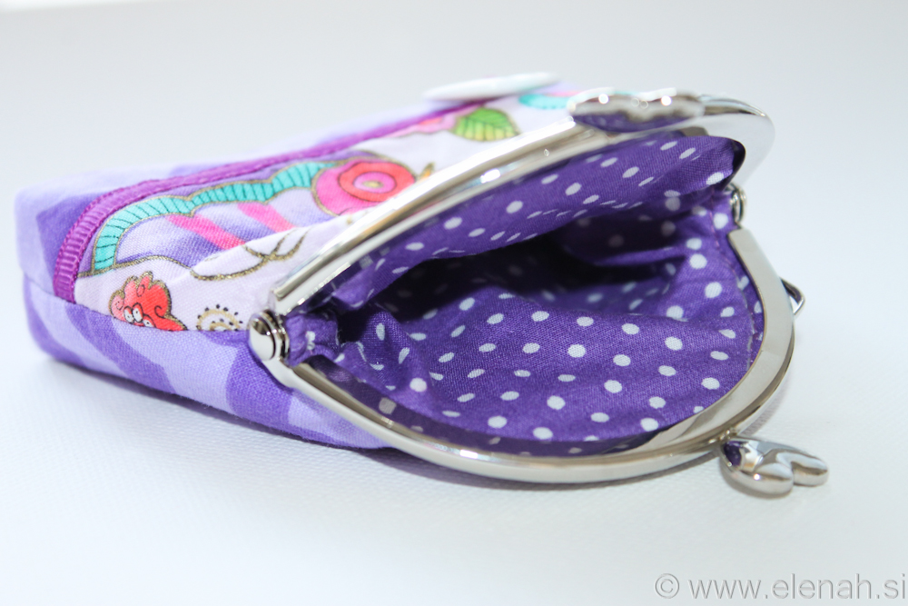 Drobižnica 5 vijola metulji  Frame coin purse purple chevron butterfly 2