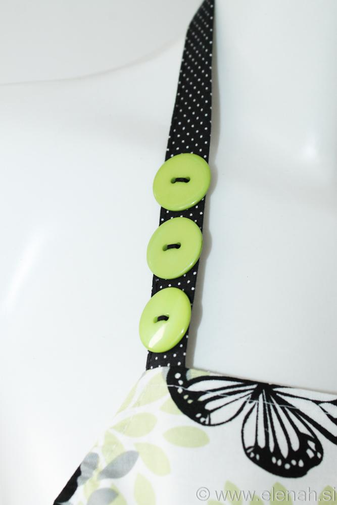 Predpasnik metulji bela zelena črna Apron butterflies white green black cotton 2